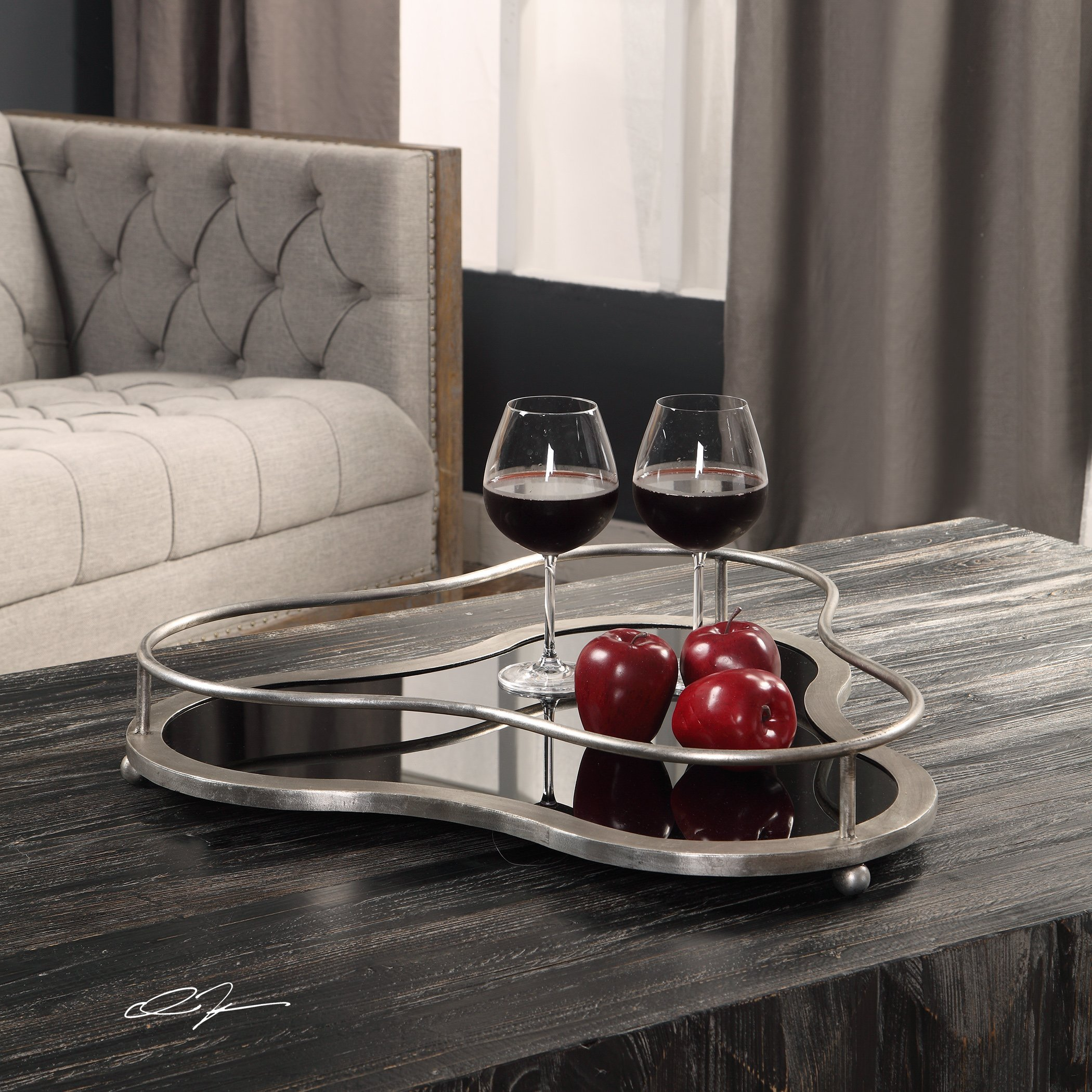 My Swanky Home Silver Black Minimalist Clover Shape Decorative Tray | Serving Bar Mid Century by My Swanky Home (Image #2)