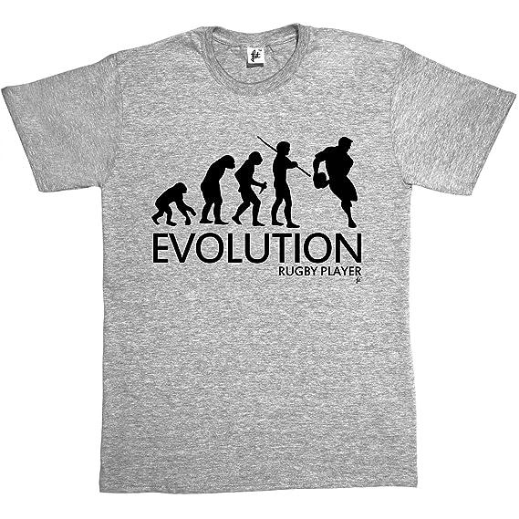 Camiseta de diseño de la «Evolución de un jugador de rugby» para hombre, camiseta de manga corta de algodón: Amazon.es: Ropa y accesorios