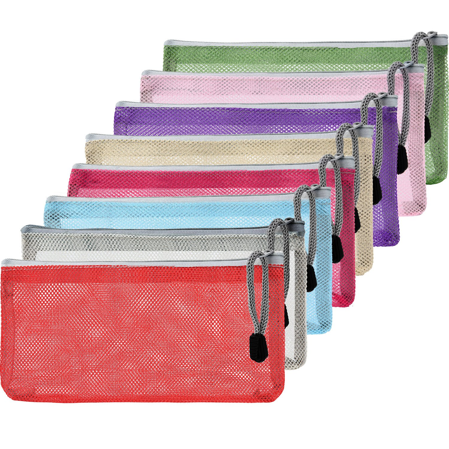 Hestya 8 Pieces Zipper Mesh Carry Bag Mesh Makeup Bag Mesh Compact Travel Pouch Organizer for Toiletry and Cosmetics, 8 Colors