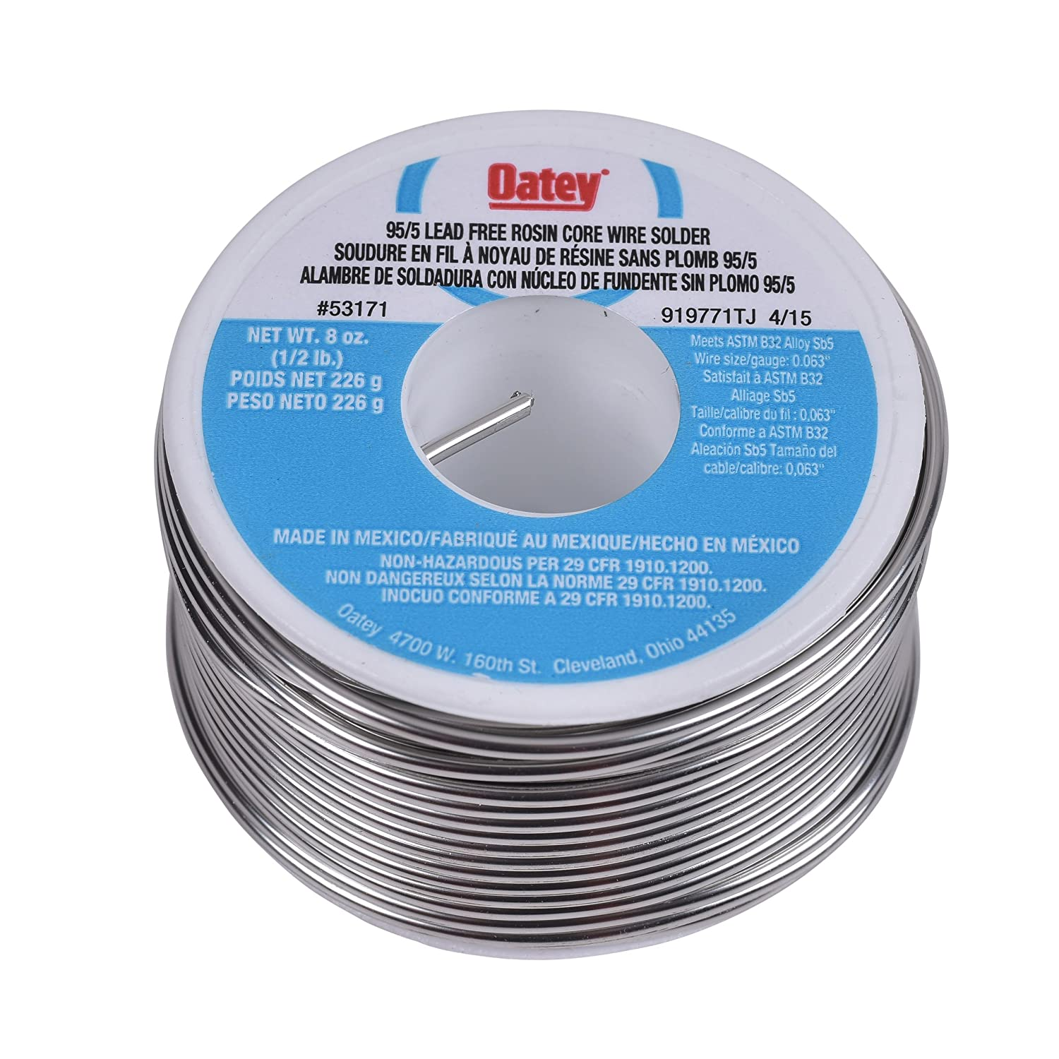 Oatey 53171 Rosin Core Wire Solder, 0.5 Lb Bulk, Solid, Gray 1/2 lb - - Amazon.com