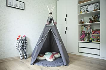 quality design 67987 4b7e1 MINICAMP Teepee Tent for Kids, Grey Tipi Tent, Kids Play Tent, Childrens  Teepee Tent from 100% cotton!