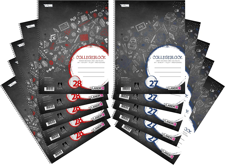 schwarz 10er Pack 5 linierte und 5 karierte Bl/öcke Landre Collegeblock A4