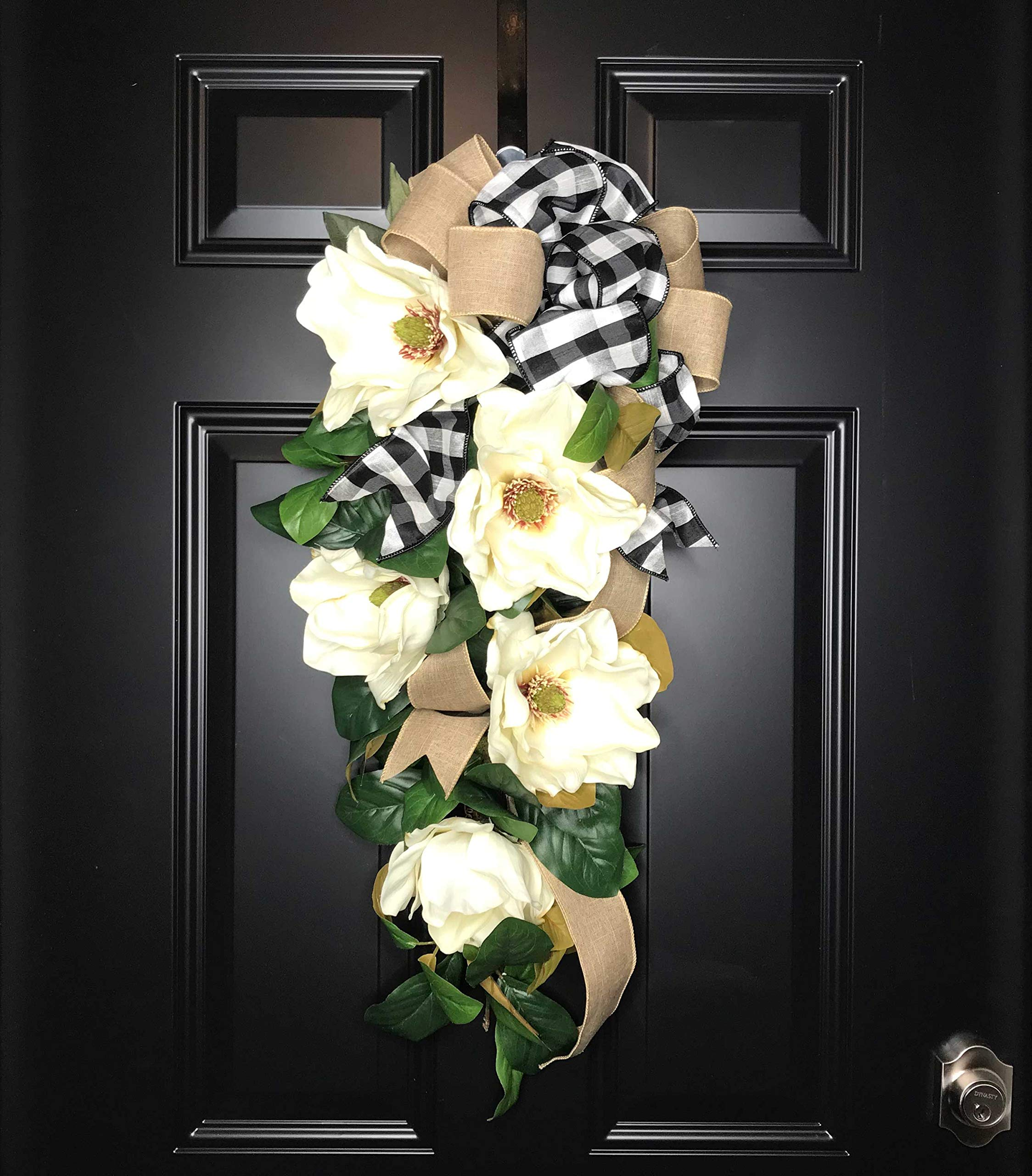 Large Southern Magnolia Teardrop Floral Swag Wreath w/Buffalo Plaid/Check Bow for Front Door Porch Indoor Wall Farmhouse Decor Spring Springtime Summer Summertime Year Round, Handmade, 30''L x 18'' W by Wreath and Vine, LLC (Image #8)