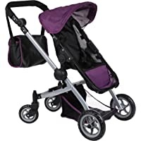 Mommy & Me Deluxe Babyboo Doll Stroller with Swiveling Wheels (color OFF WHITE & BLACK) with Free Carriage Bag (Multi Function View All Photos) - 9651C-OFFW