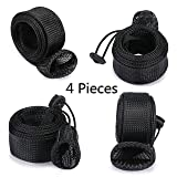 momo 4 Pieces/Set Fishing Rod Cover Fishing Pole Glove Protector Cover Rod Sleeve Sock with Lanyard for Fly, Spinning, Casting, Sea Fishing Rod,Black