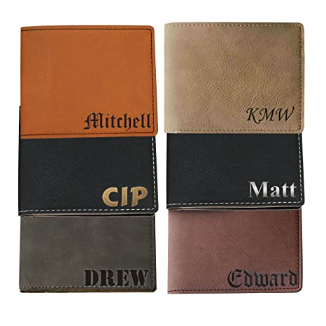 376a73563355 Image Unavailable. Image not available for. Color  Monogrammed Personalized  Bi-Fold Men s Wallet - Wedding Groomsman Engraved ...