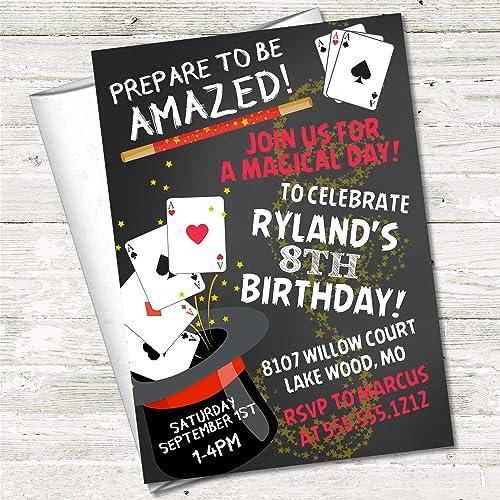 Amazon Com Magician Birthday Party Invitations Magic Birthday