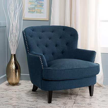 Gentil Aveton Diamond Tufted Deep Blue Fabric Club Chair
