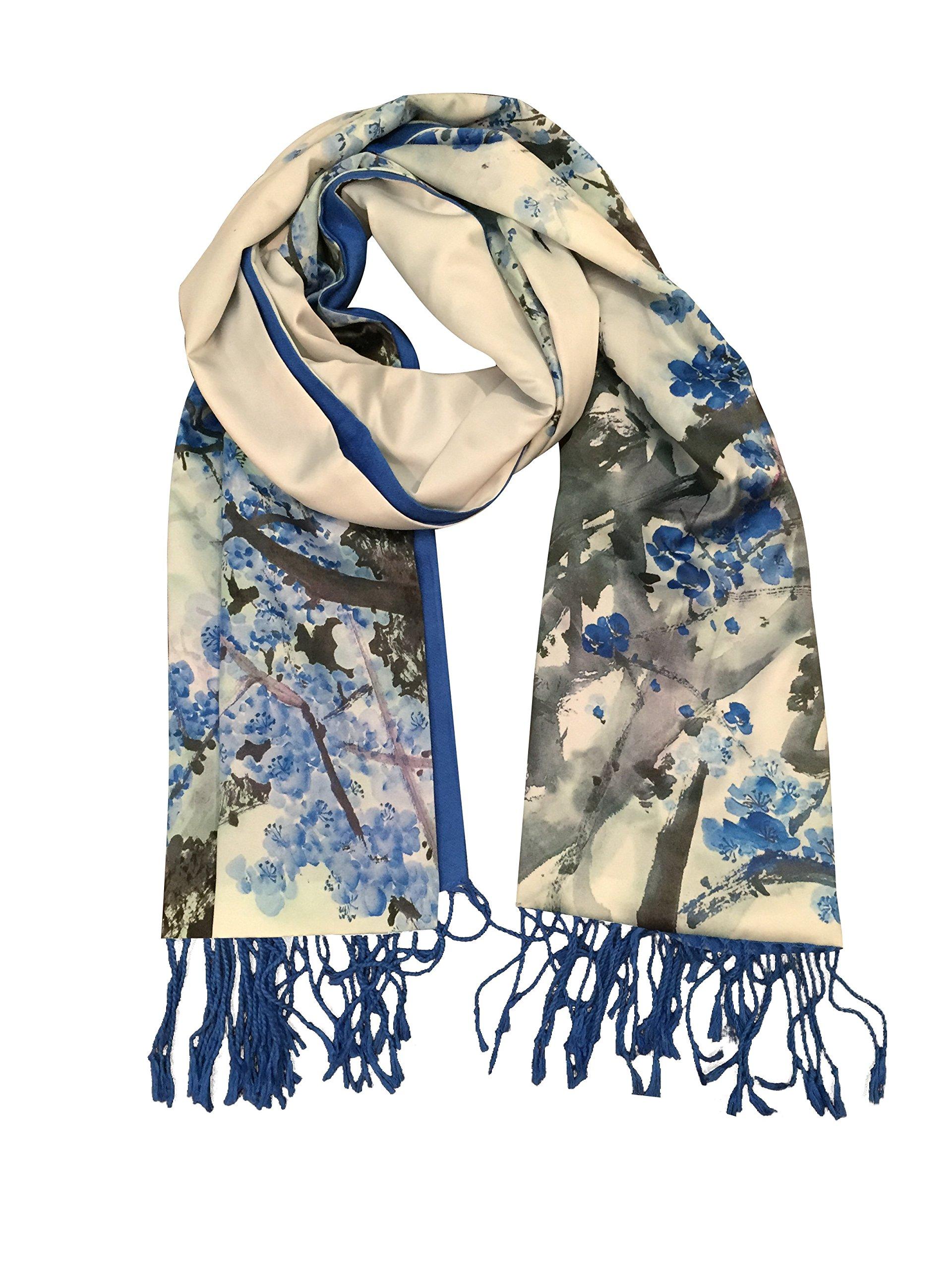 Siskalicious SiScarf Women's Luxurious Fashions Double Layers Silk and Soft Cashmere Scarf Blue Sakura