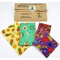 envolturas de comida vegana, juego de 4, BEE Zero Waste, alternativa sin plástico a la película adhesiva, reutilizable