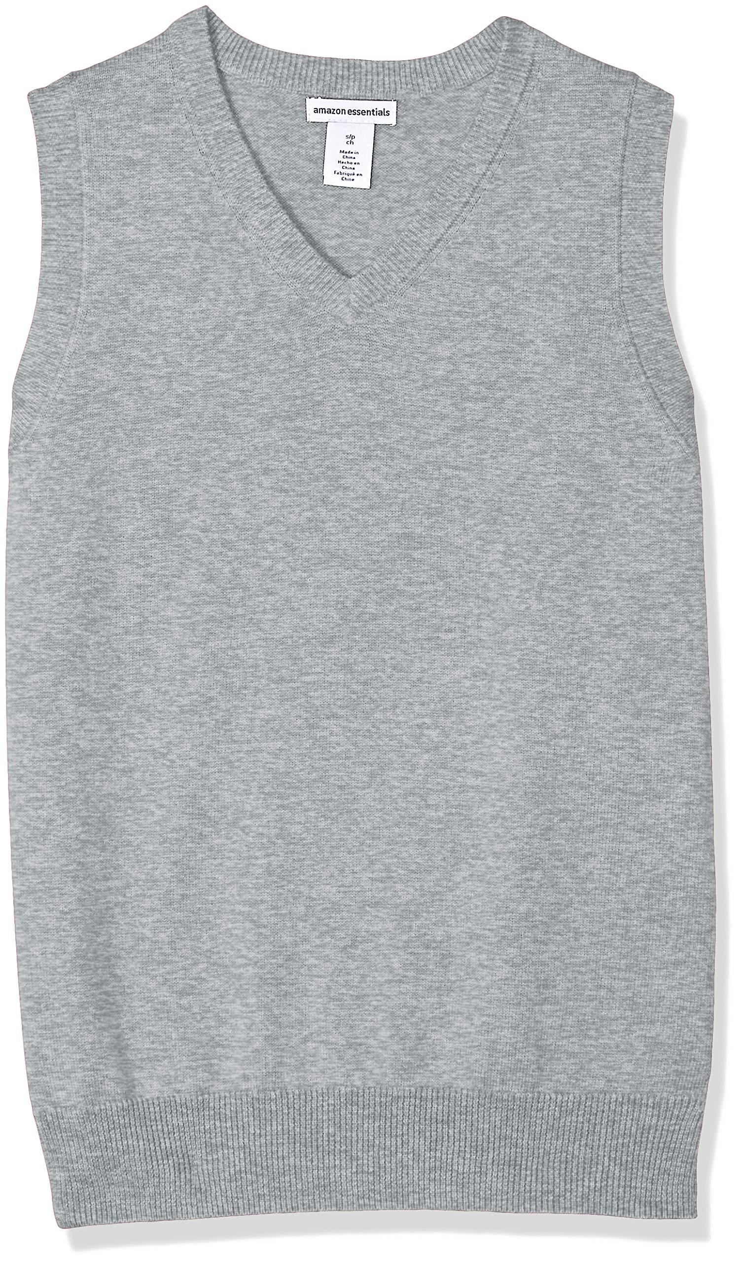 Amazon Essentials Little Boys' Uniform V-Neck Sweater Vest, Light Heather Grey, M