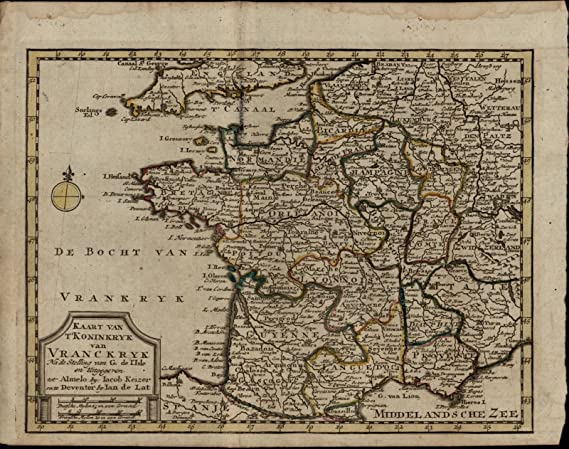 Map Of France Regions And Cities.France Regions Champagne Normandy Cities Nice Rare Ca 1770 Antique