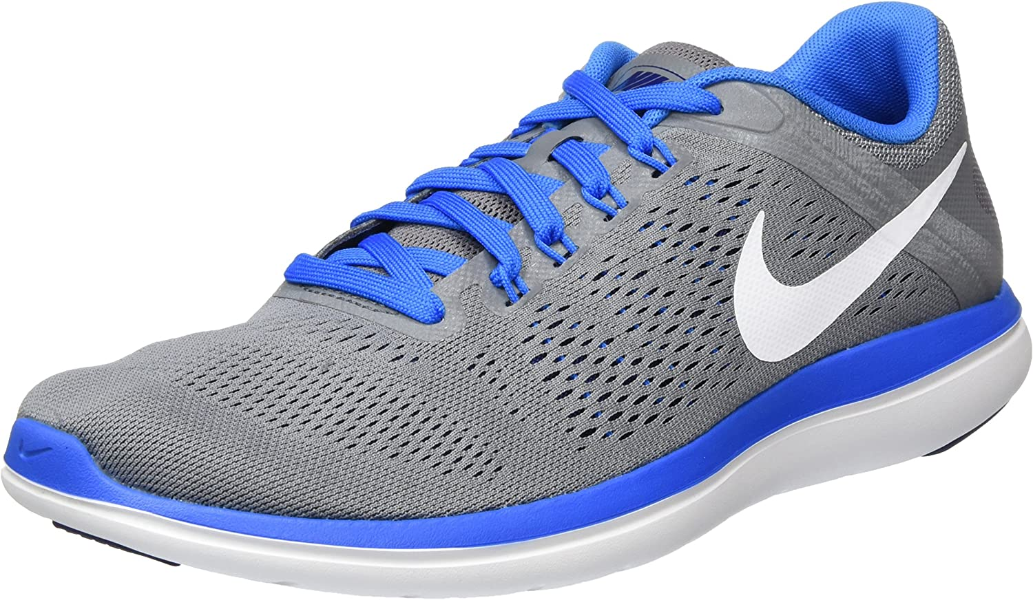NIKE Flex 2016 RN Mens Gray Mesh Athletic Lace Up Running Shoes 6.5