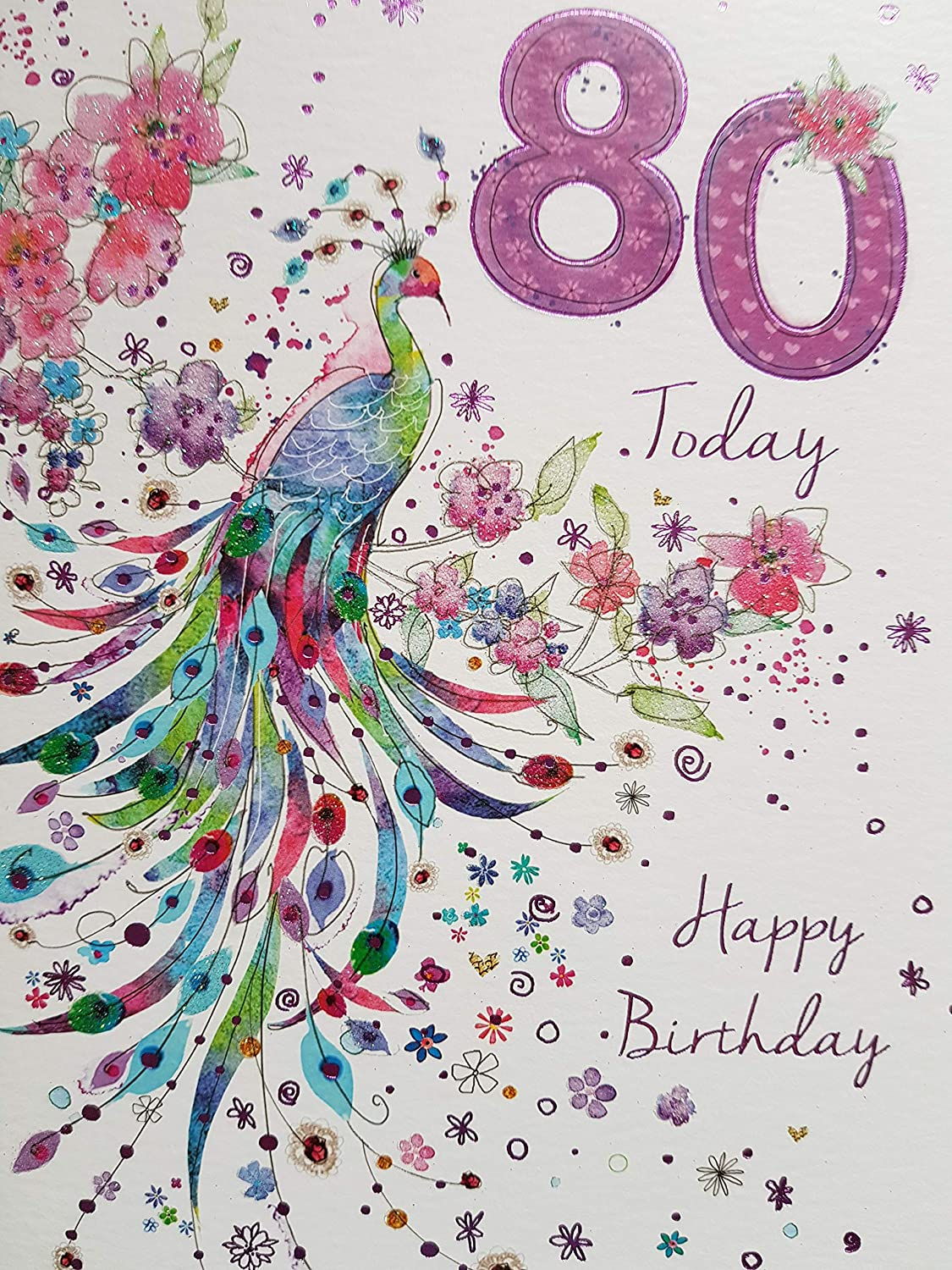80th Birthday Card Ladies Tea Cups Design With Insert Verse Amazoncouk Office Products