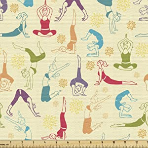 Lunarable Hipster Fabric by The Yard, Workout Fitness Girls in Different Yoga Pilates Positions Health Wellness, Decorative Fabric for Upholstery and Home Accents, 2 Yards, Purple