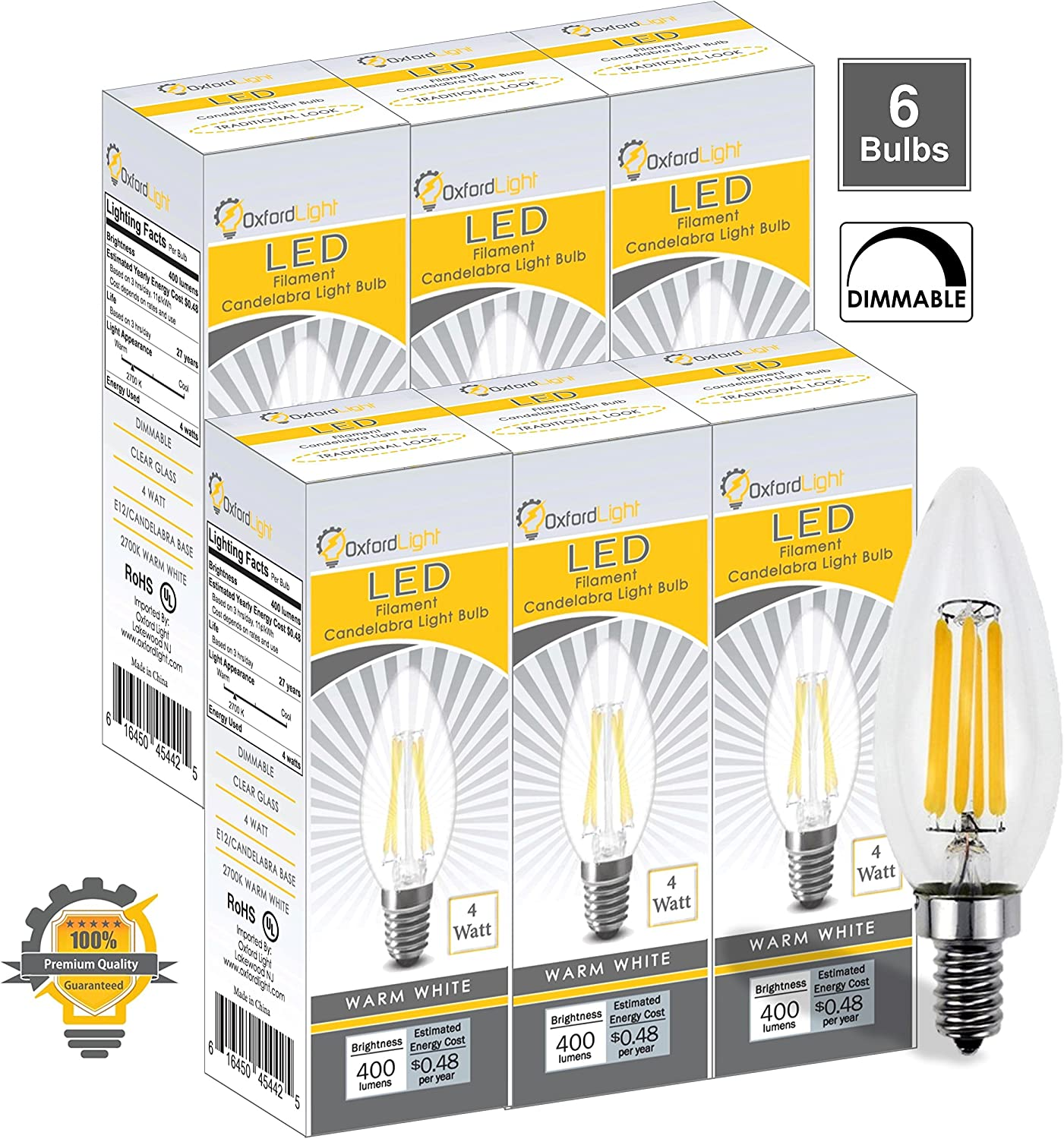 6-Pack 40W Incandescent Equivalent E12 Base LED Chandelier Bulbs B10 Torpedo Shape Oxford Light 4W 400LM Dimmable LED Candelabra Bulb 2700K Warm White