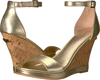 d63dbc7a0fe9 Lilly Pulitzer Women s Kayla Wedge Gold Metallic Leather 6 ...
