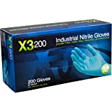 AMMEX - X3D42100-BX - Nitrile Gloves - Disposable, Powder Free, Latex Free, 3 mil, Food Safe, Small, Blue (Box of 200)