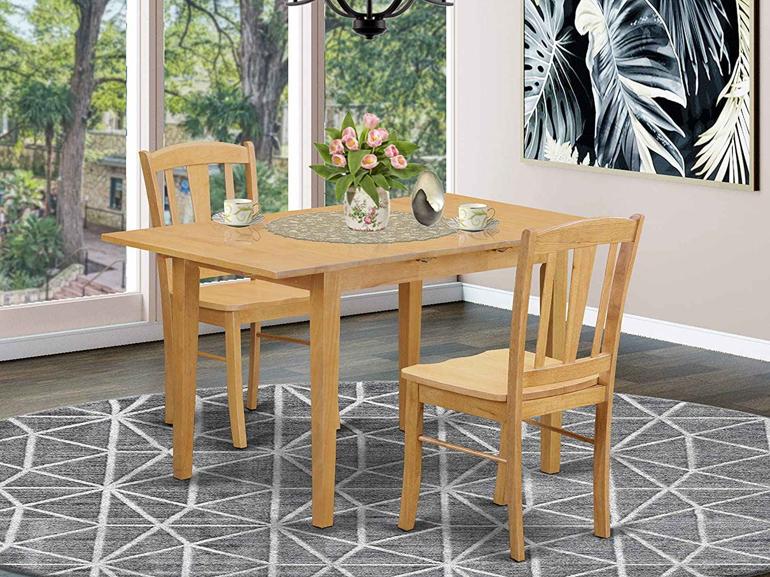 Amazon Com 3 Pc Dining Room Set Dining Table For Small Spaces And 2 Dining Chairs Furniture Decor