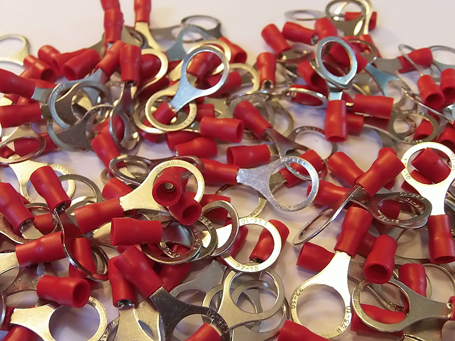 red 10.5mm ring terminal crimp connector for 10mm bolt // screw 50 25 50 100 pack