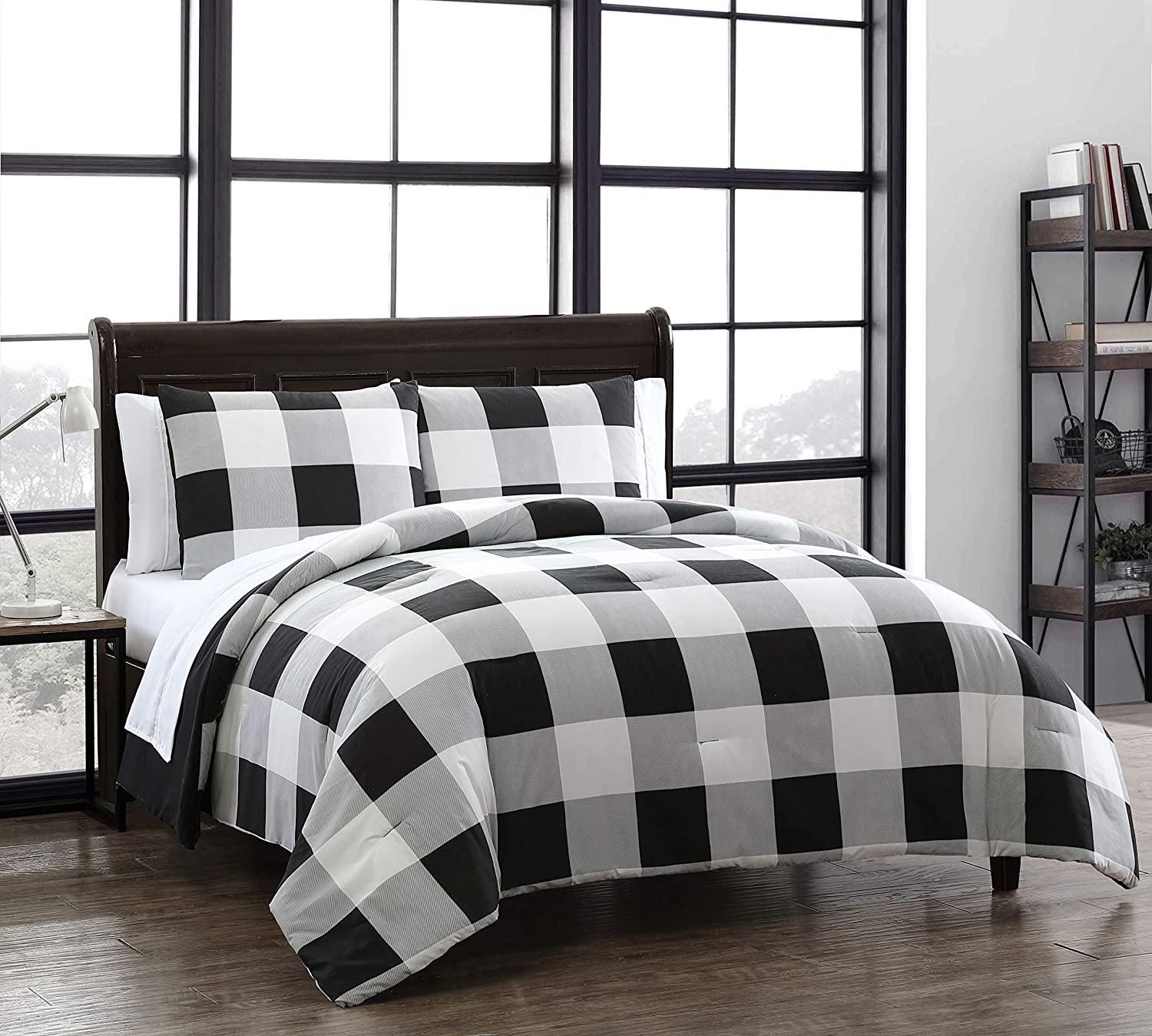 Amazon Com Buffalo Plaid 7pc Black And White Bed In A Bag Home Kitchen