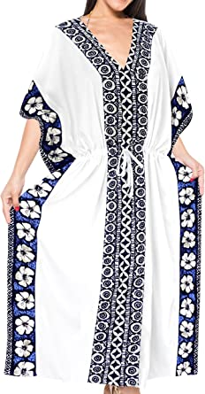 TALLA Talla única. LA LEELA Mujeres caftán Rayón túnica Sólido Plain Kimono Libre tamaño Largo Maxi Vestido de Fiesta para Loungewear Vacaciones Ropa de Dormir Playa Todos los días Cubrir Vestidos E