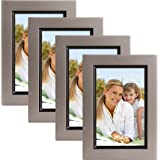 Muse 4x6 Wood Picture Frame, Pewter and Black, Pack of 4