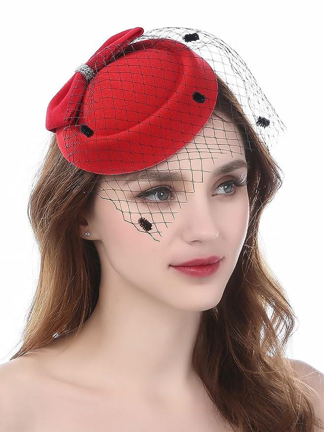 FEIBAO Sombrero tipo tocado de Pelo con mallas.