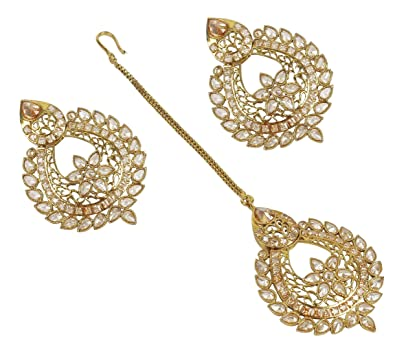 MUCHMORE Fabulous Indian Pearl & Crystal Stone Polki Indian Earrings Partywear Jewellery AIP1BTP