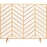 Best Choice Products 38x31in Single Panel Handcrafted Wrought Iron Mesh Chevron Fireplace Screen, Fire Spark Guard for Living