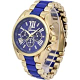 ShoppeWatch Womens Blue Gold Two Tone Watch Roman Numerals Unisex Reloj para Dama BLGD