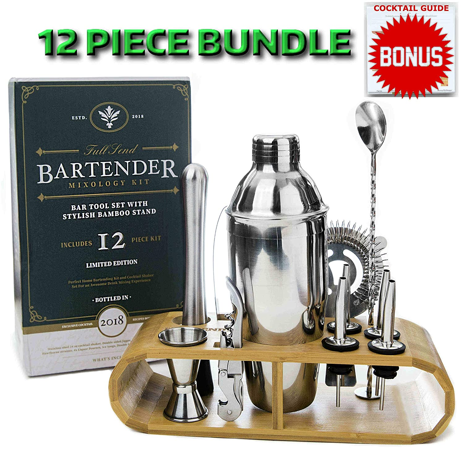 Cocktail Shaker Bartender Kit by Full Send! 12 PC Bar Tool Set with Bamboo Stand, Martini Shaker and Bar Tools - Drink Mixer, Muddler and More! Barware Cart Accessories, Bartending Mixology Supplies