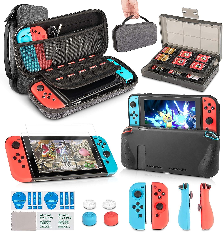 innoAura 11 en 1 Kit accesorios para Nintendo Switch, con funda de transporte, Estuche De Juegos, funda de TPU, fundas para controles Joy Con, tapas para Joystick y protector de pantalla: Amazon.es: