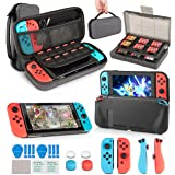 Switch Accessories Bundle, innoAura 11 in 1 Accessories Kit with Carrying Case, Game Card Slot Holder, TPU Cover, Joy Con Cov