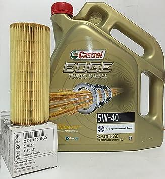 PACK CASTROL EDGE TD 5W40 5 litros + FILTRO ACEITE orginal de la marca Volkswagen/
