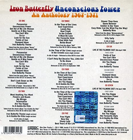 IRON BUTTERFLY - Unconscious Power: Anthology 1967-1971 - Amazon.com Music