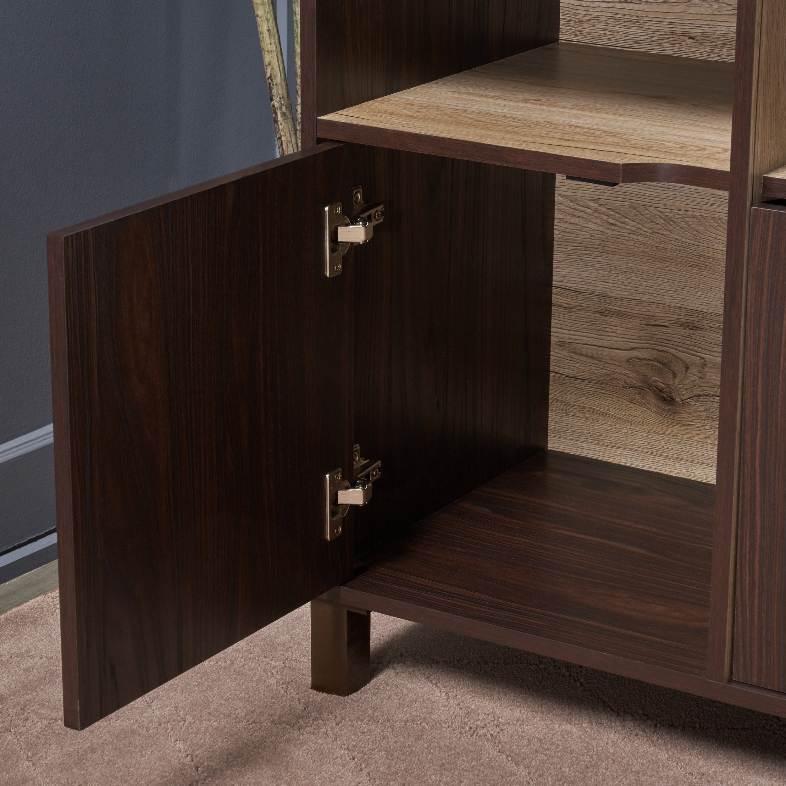 Provence 2-Shelf Walnut Finished Faux Wood Cabinet with Sanremo Oak Interior by Great Deal Furniture (Image #5)