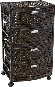"Oriental Furniture 29"" Natural Fiber Chest of Drawers - Black"