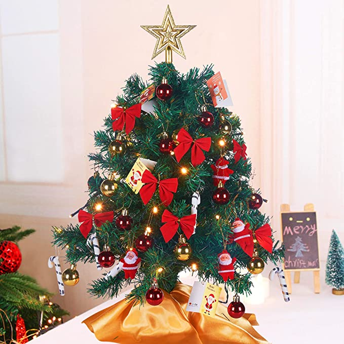 """Artificial Mini Christmas Pine Tree with LED String Details about  /24/""""//60cm Tabletop Xmas Tree"""