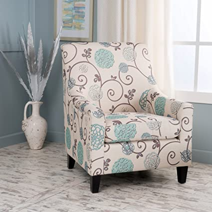 Superb Irena Ivory And Blue Floral Fabric Club Chair
