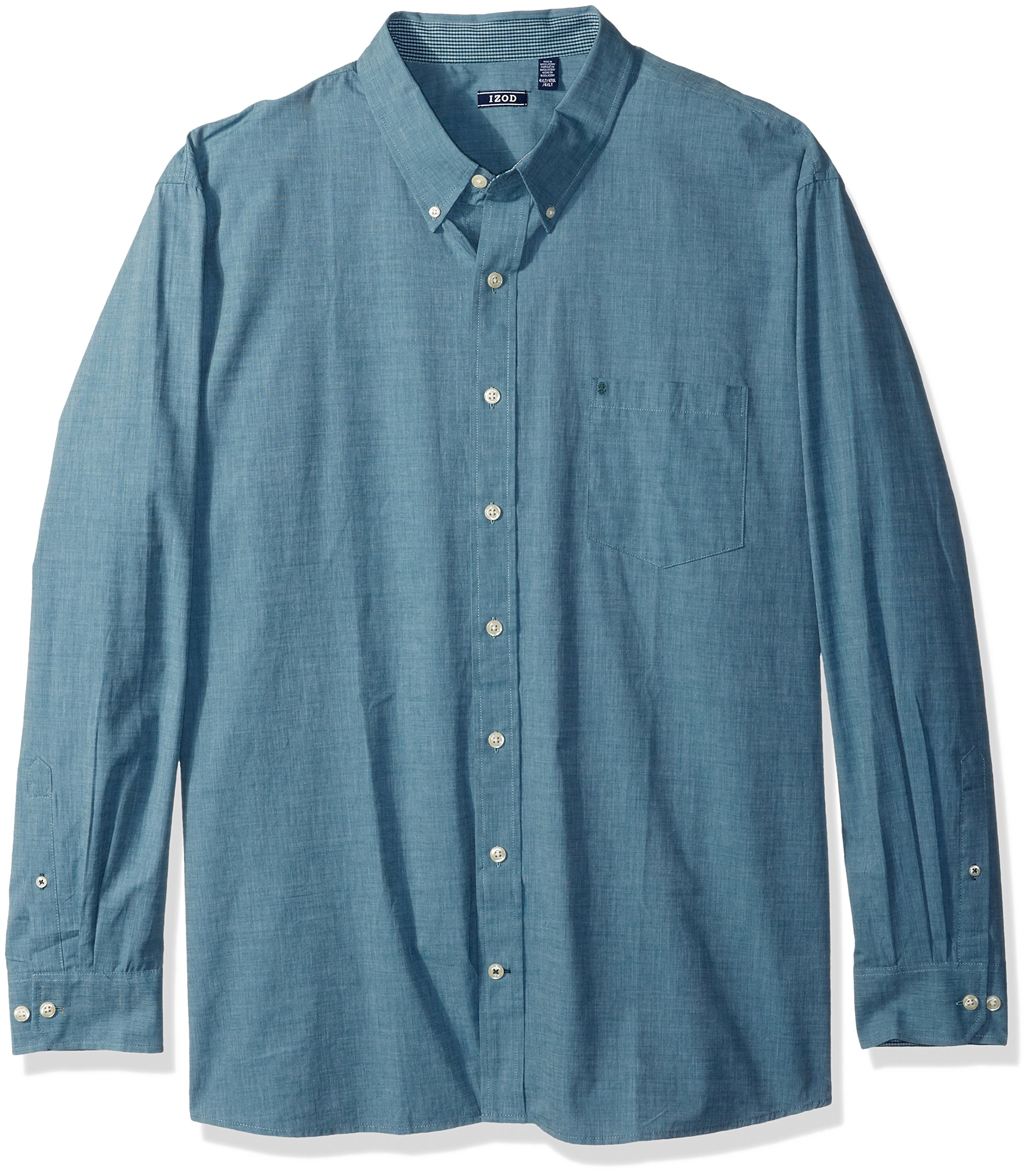 IZOD Men's Size Essential Check Long Sleeve Shirt (Big Slim), Deep Teal, 5X-Large Tall