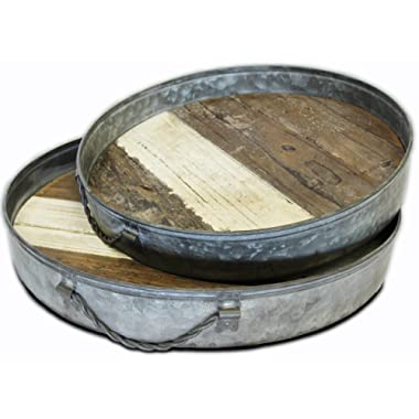 Wood And Metal Tray, Old Barn Wood Tray With Swivel Handles by Urban Legacy … (Round)