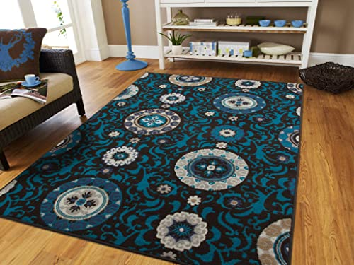 Luxury Contemporary Modern Floral Flowers 5×7 Area Rug, 5 3 x 7 6 , Black Blue Gray Beige Ivory 5×8 Rugs for Living Room