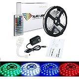 ALED LIGHT LEDテープ 5M 150連 SMD5050 5M/150LED テープ型  正面発光 RGB リモコン操作 カラー選択可能 切断可能  ベース:ホワイト(白) [並行輸入品]