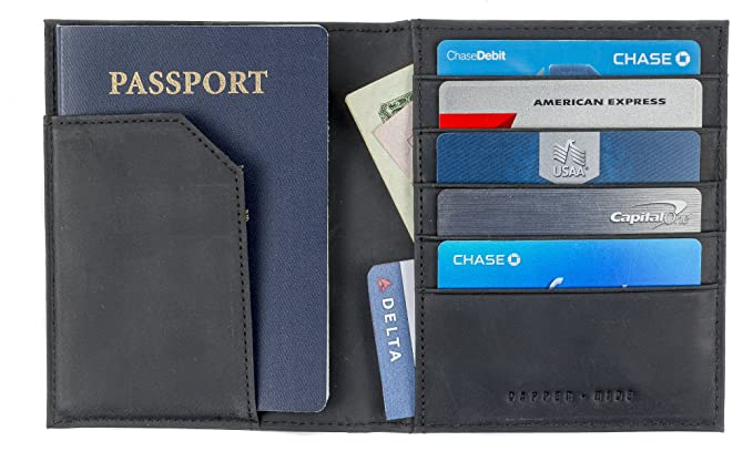 74dbcd7940c6 Leather Passport Holder Travel Wallet - Passport Cover Protector Case For  Men & Women, Gift Box