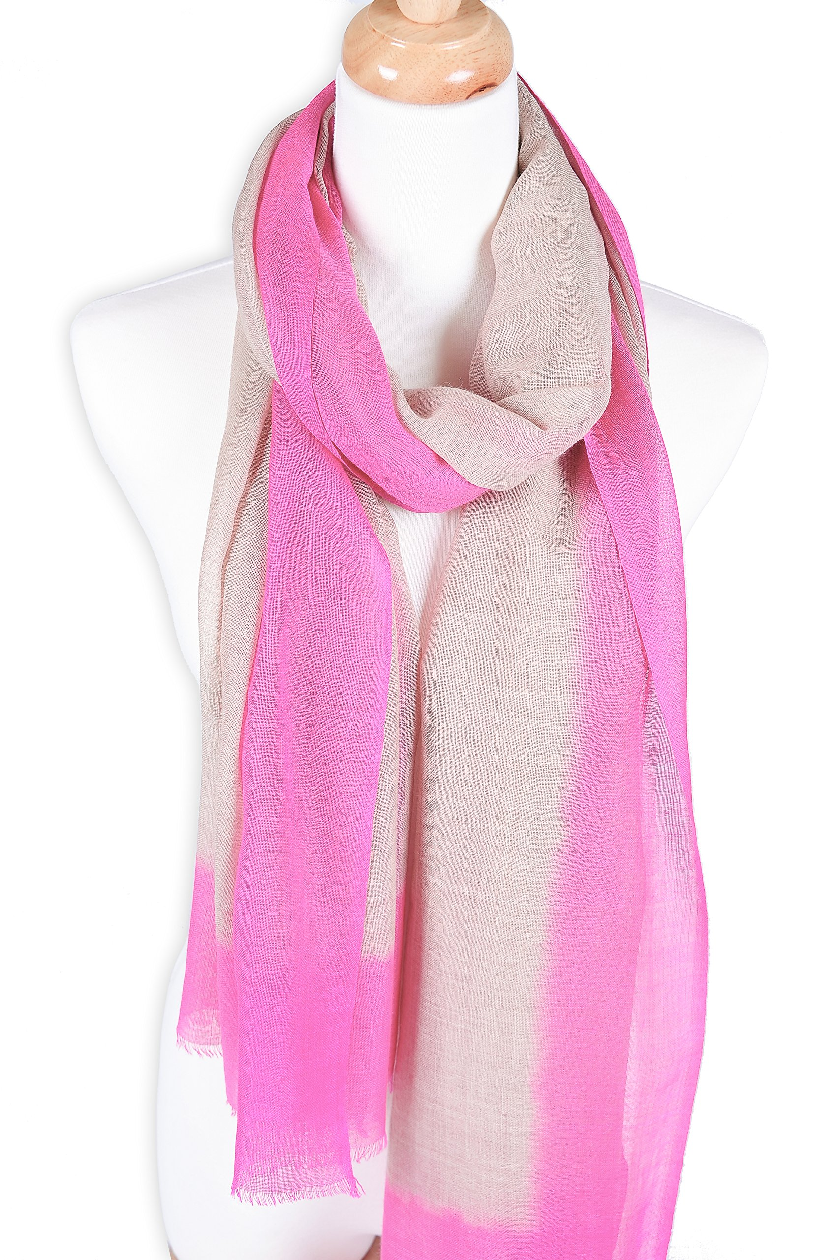Zentopia cashmere blend handmade hand dye scarf ink style ultra light weight (Pink)