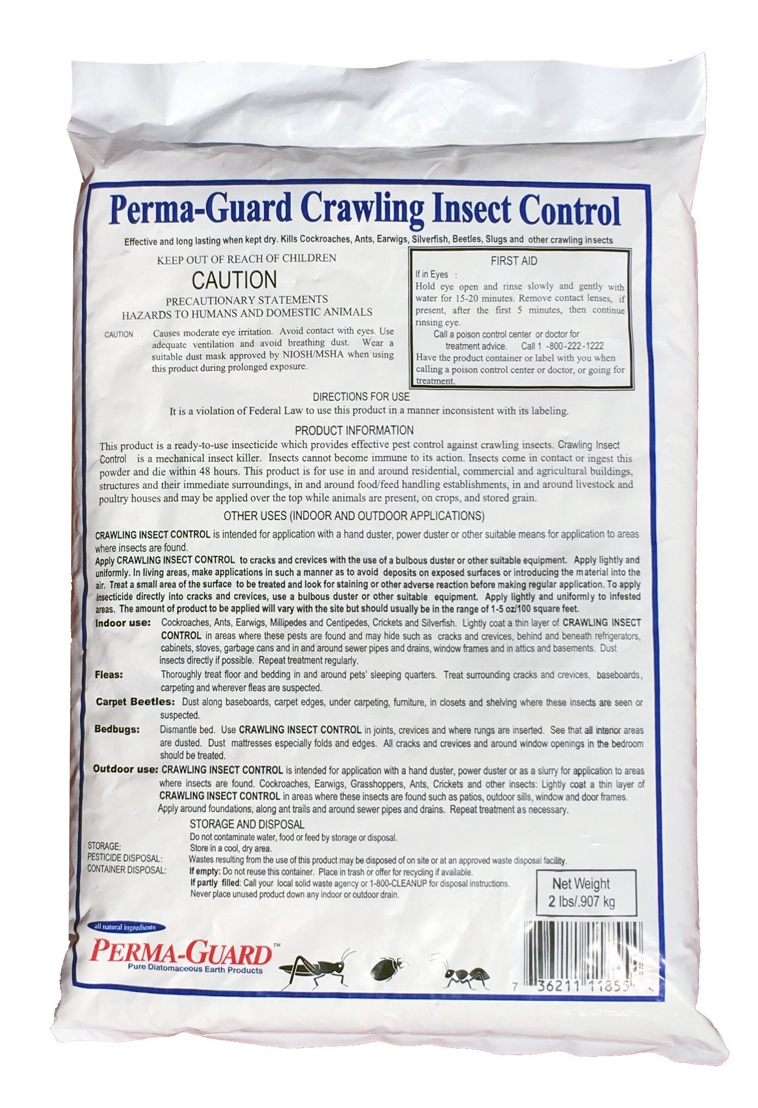 Perma Guard Crawling Insect Control Diatomaceous Earth Powder / 2 Pound Bag by Perma Guard