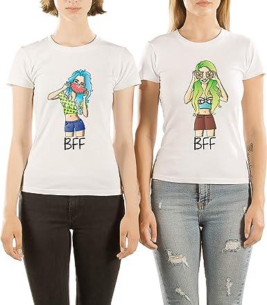 VIVAMAKE® Pack 2 Camisetas de Mujer Originales para Mejores Amigas con Diseño BFF: Amazon.es: Ropa y accesorios