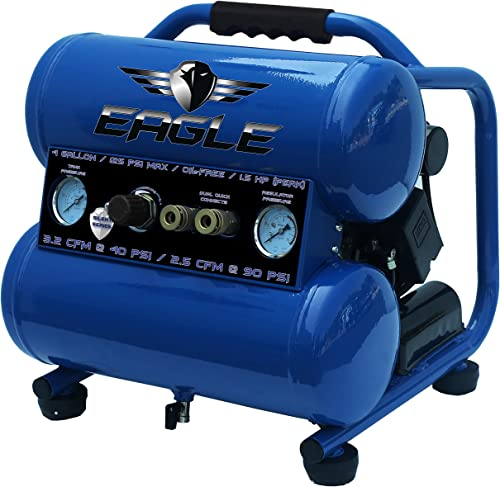 Eagle EA-4000 Silent Series 4000 Air Compressor 125 psi MAX Side Stack, Blue, 4 gallon