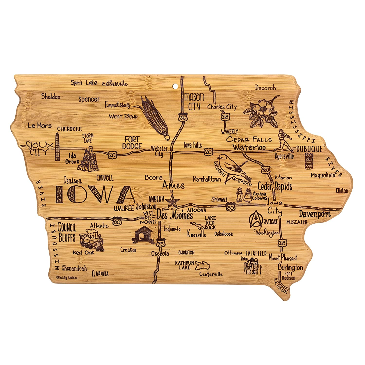 Totally Bamboo Iowa State Destination Bamboo Serving and Cutting Board